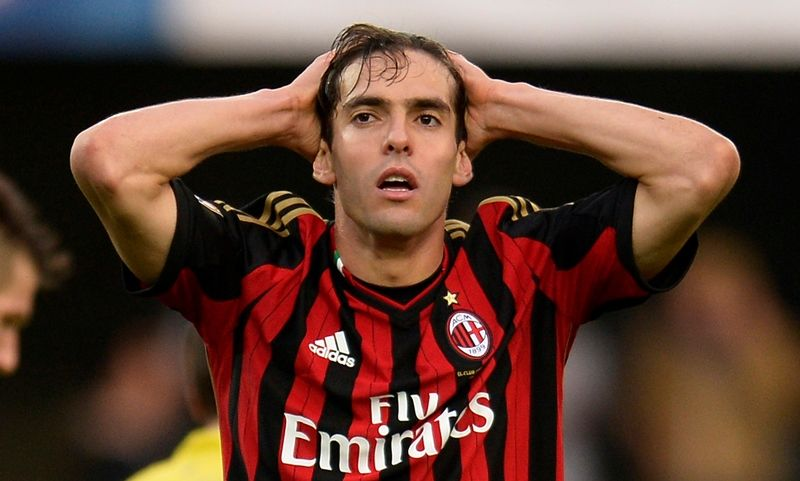 AC Milan's Brazilian midfielder Kaka reacts during the Serie A football match between Chievo Verona and AC Milan in Verona on November 10, 2013. AFP PHOTO / ALBERTO LINGRIA