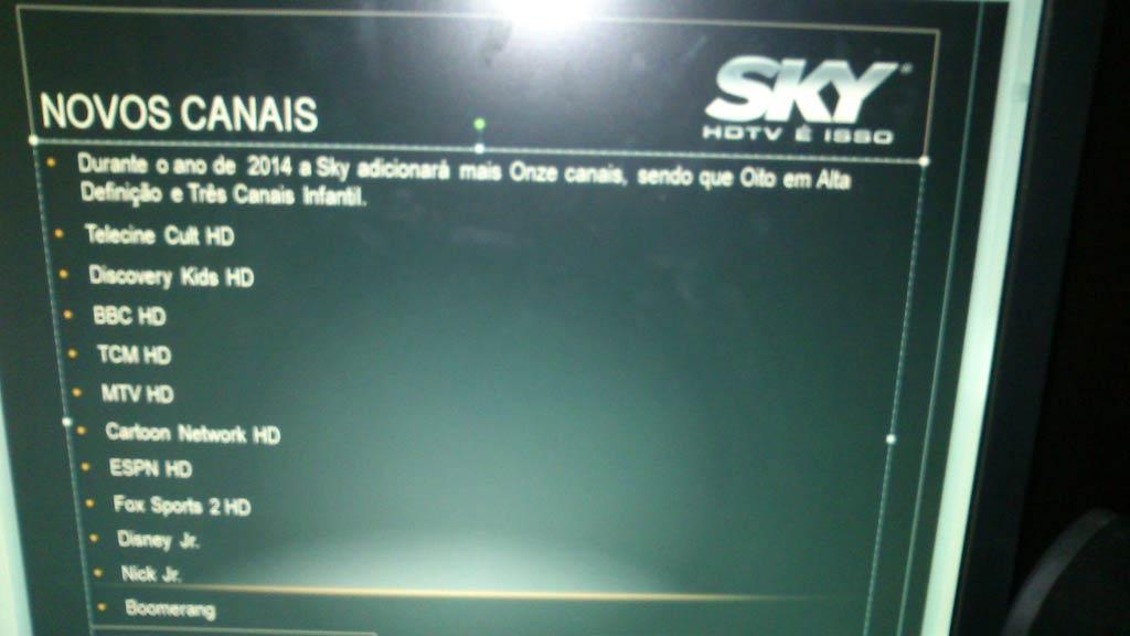 Novos canais na SKY