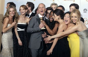"""Glee"" creator Ryan Murphy and cast celebrate after winning for best television series-comedy or musical the 67th annual Golden Globe Awards in Beverly Hills"