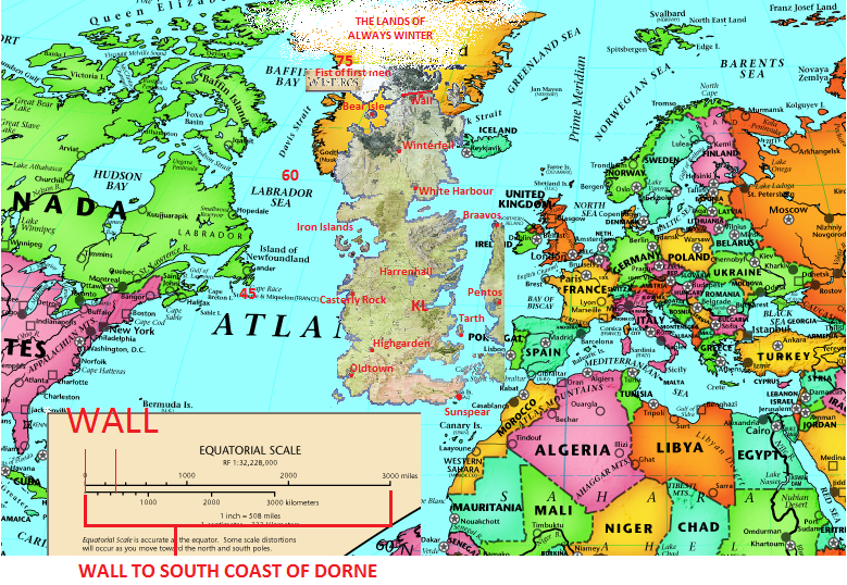 Mapa de Westeros no mundo real