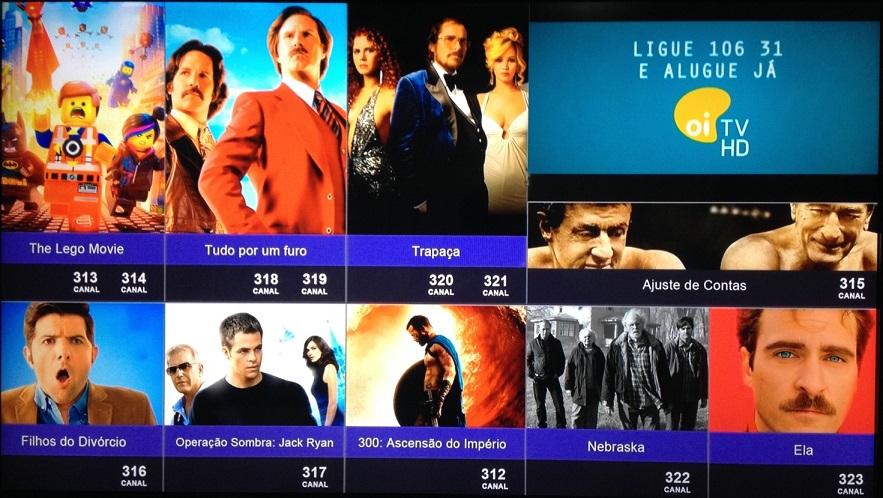 """Na imagem acima vemos todas as opções do """"OI FILMES"""" que estão disponíveis"""
